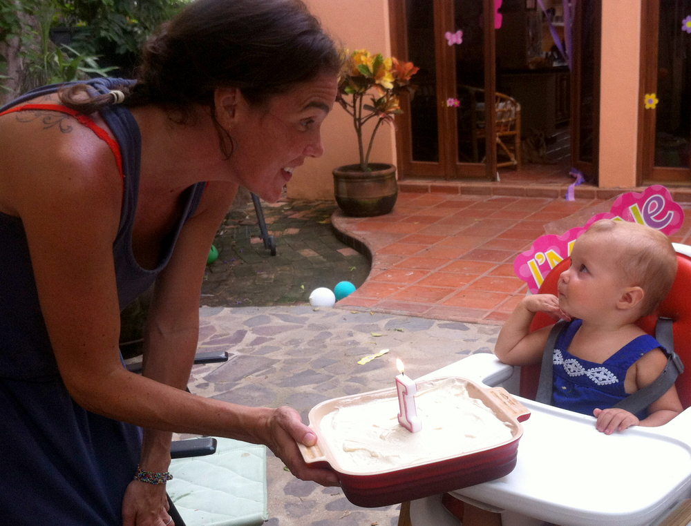 Even though we'd practiced blowing in the days leading up to the main event, she still needed a little encouragement when it was time to blow out the candle.