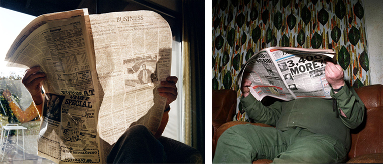 Larry Sultan, 1985 (left), David Moore, 1988 (right)