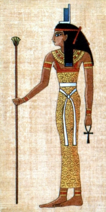 Ancient Egyptian Isis hieroglyphic rendering