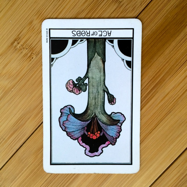 Ace of Rods reversed, Aquarian deck