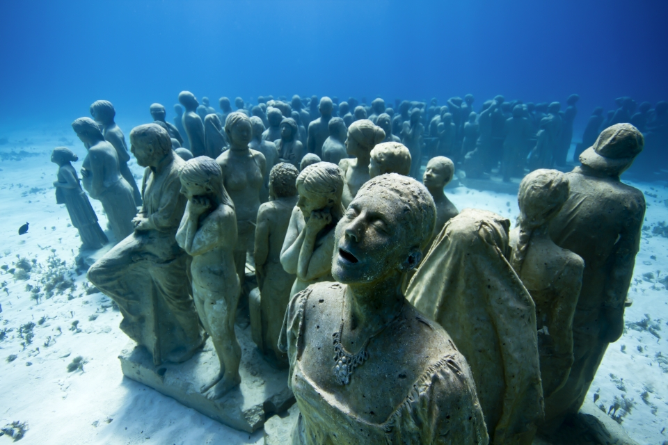 Image of The Silent Evolution, an underwater sculpture by Jason deCaires Taylor