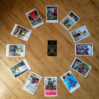 Astrological spread containing  The Ghetto Tarot  and  Golden Thread Tarot  cards