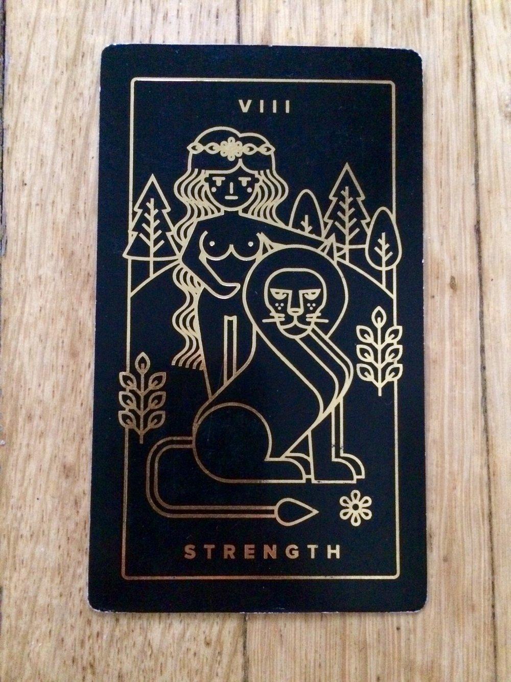Strength card from  Golden Thread Tarot