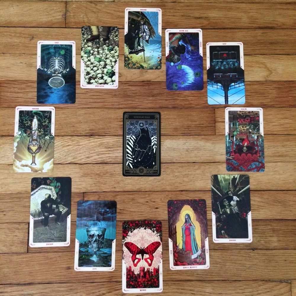 Astrological spread with  The Marigold Tarot  and  Santa Muerte Tarot Deck