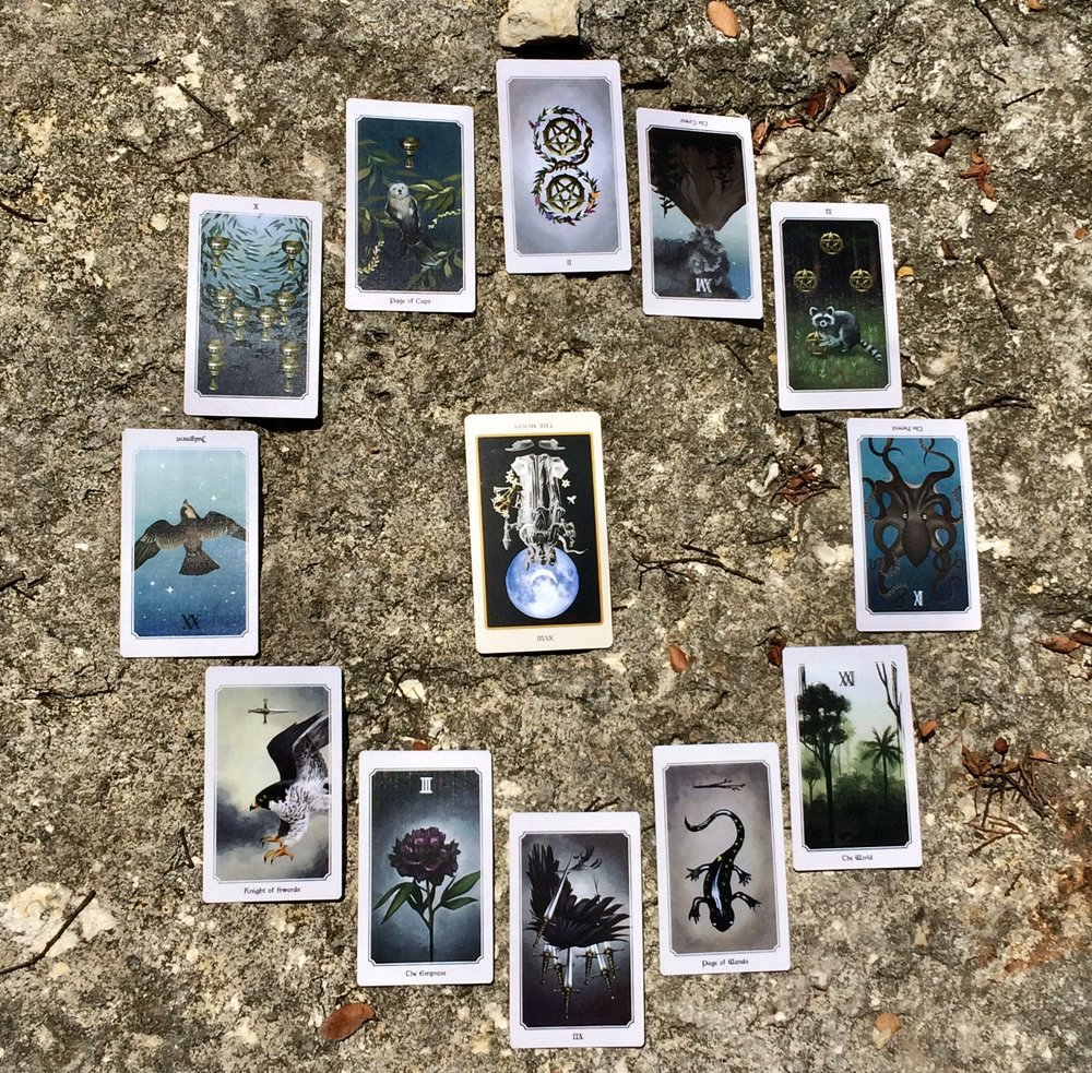 Astrological spread with  Spolia Tarot  and  The Anima Mundi  deck