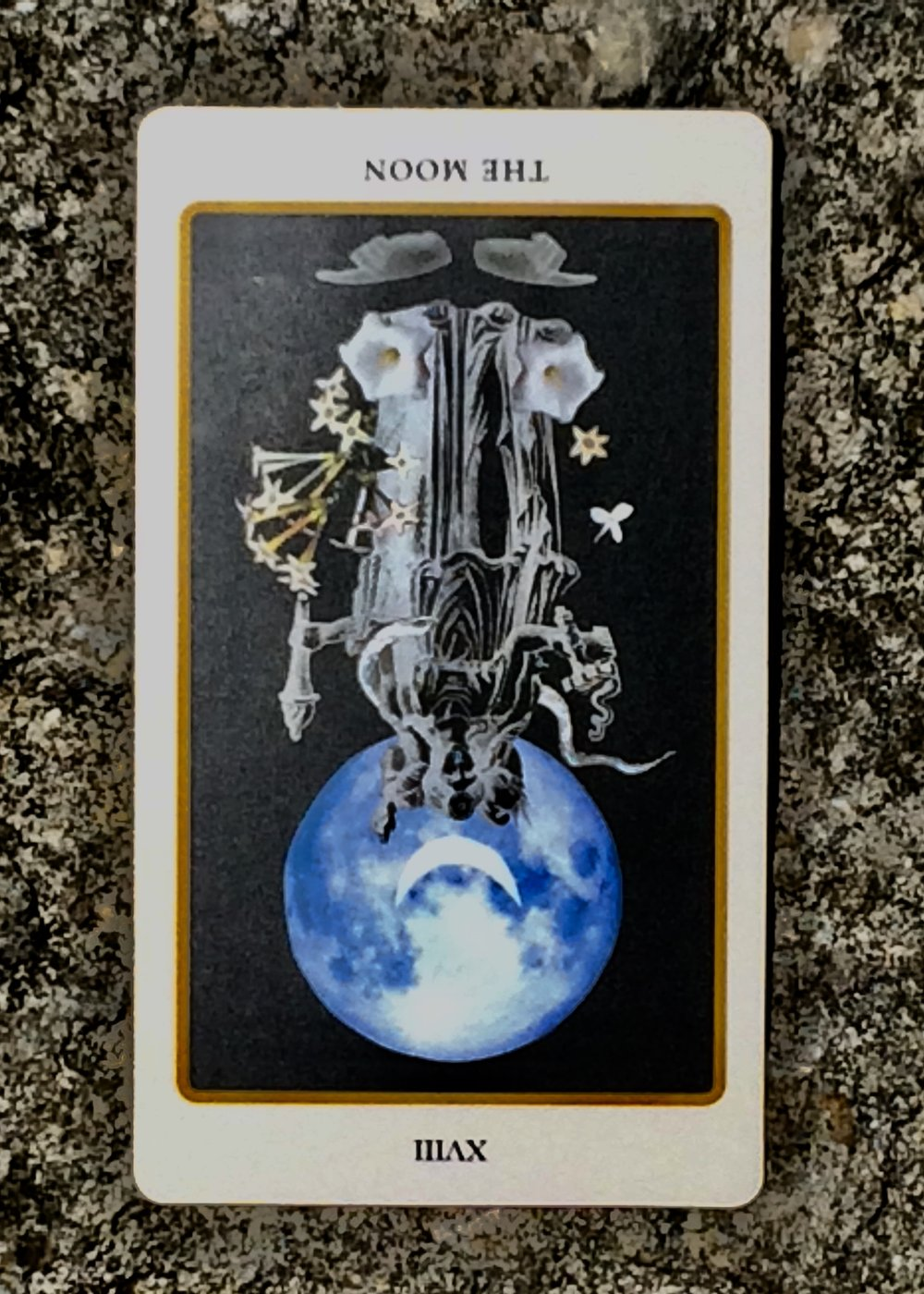 The Moon reversed from  Spolia Tarot
