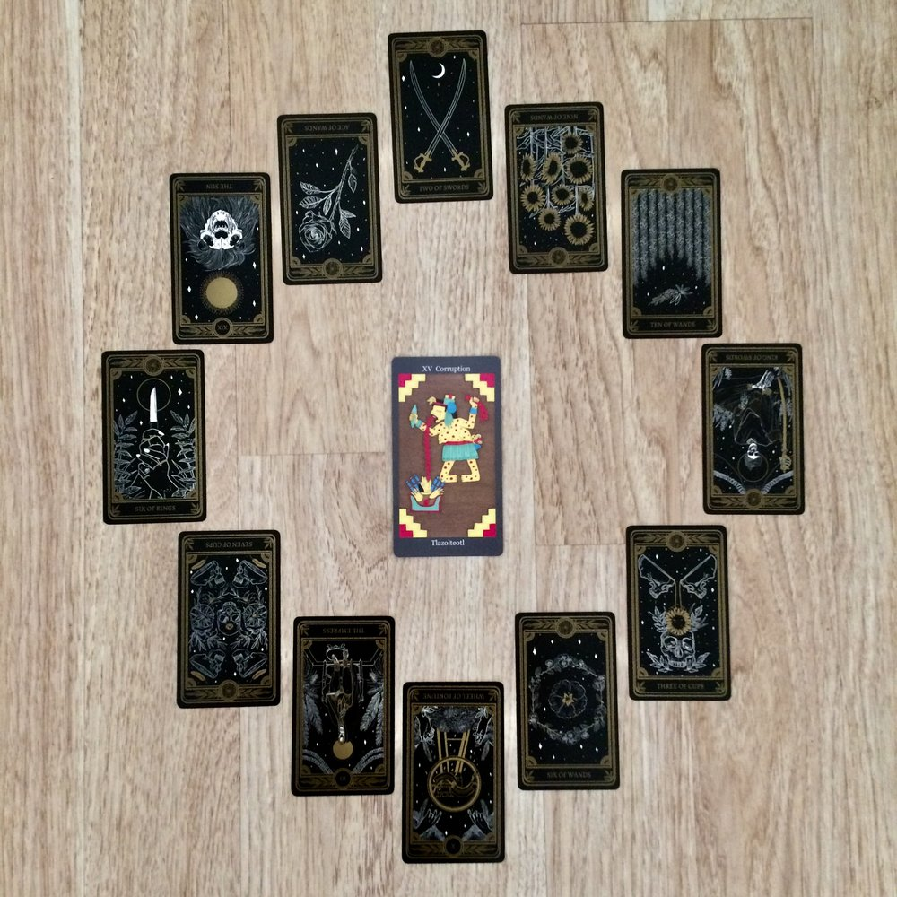 Astrological spread with cards from  Dark Goddess Tarot  and  The Marigold Tarot