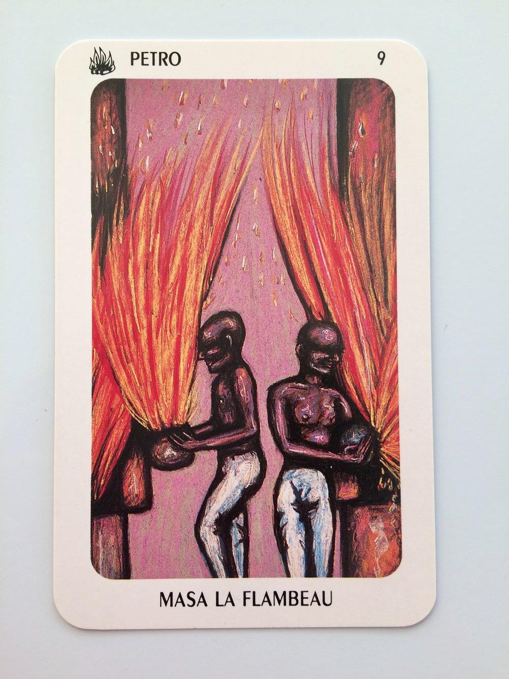 Petro - Nine - Masa La Flambeau from  The New Orleans Voodoo Tarot  deck