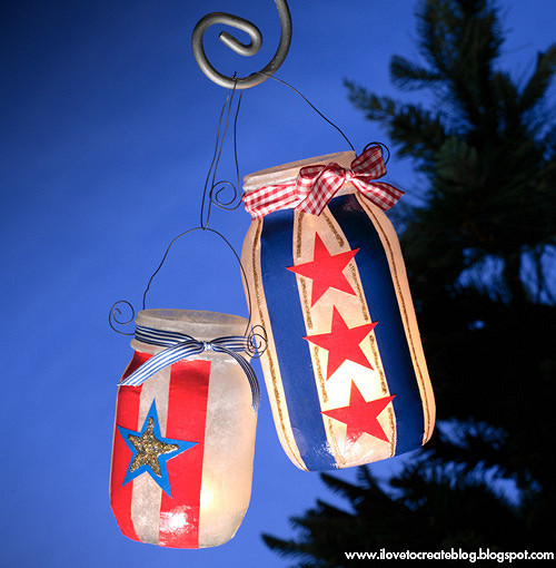 Light up the night with these crafty luminaries. The kids can help cut out the materials and decoupage the jars. Also, be sure to keep these all summer, they'll be perfect for your Fourth of July celebrations as well! See the full directions at the iLoveToCreate blog,  here .