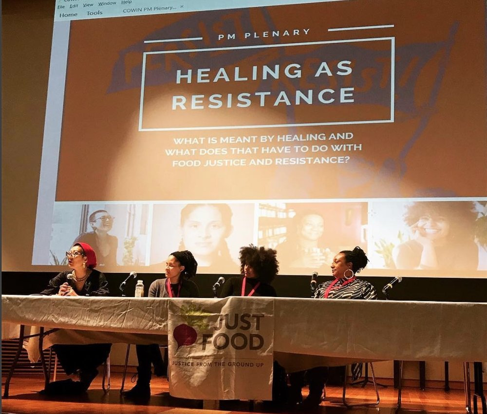 2018 Just Food Conference - At this year's Just Food Conference 2018, we will be featuring the amazing voices of social justice rooted healers and practitioners who highlight how healing is a form of resistance and how it is integral to the long term commitment of achieving racial equity and food justice.Catch them in action at our PM Plenary:HEALING AS RESISTANCEWhat is Meant by Healing and What Does That Have to do with Food Justice and Resistance? Speakers: Aki Baker, founder, MINKA brooklynKaren Rose, Master Herbalist, Sacred Vibes ApothecaryJenny Deida, Master Trainer: Movement, Revolutionary FitnessYsanet Batista, Worker-Owner, Woke Foods