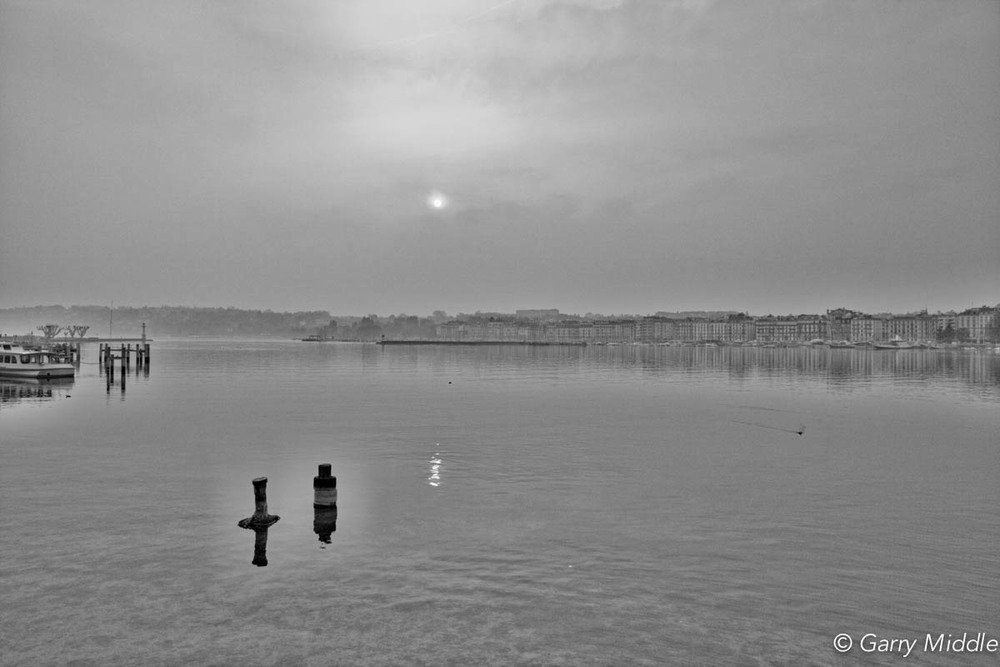 Geneva morning mist lake Geneva B&W.jpg