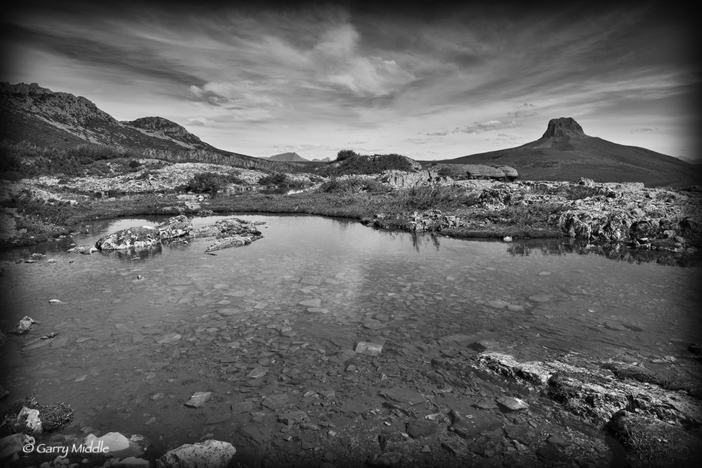 View Barns Bluff over small lake B&W.jpg