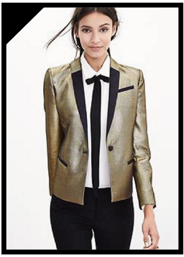 Banana Republic Monogram Gold Blazer