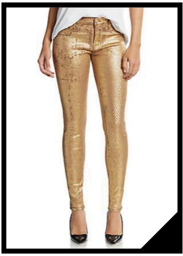 Nico Snake-Embossed Gold Metallic Skinny Jeans