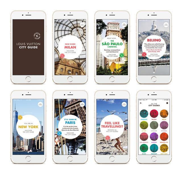 Louis Vuitton City Guide app UI