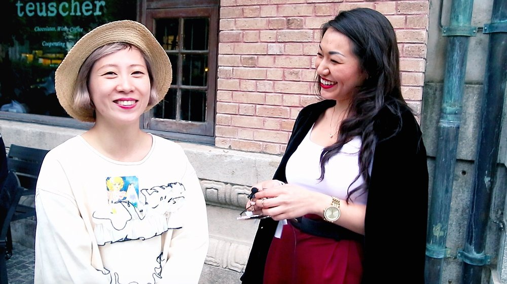 Fashion blogger Aya Aspan with designer Momo Wang