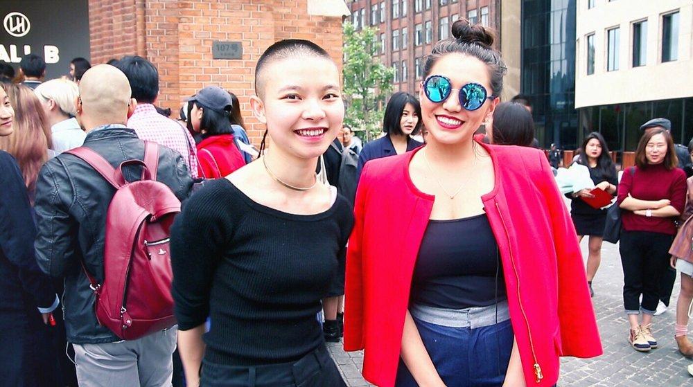 Fashion blogger Aya Aspan with designer Angel Chen