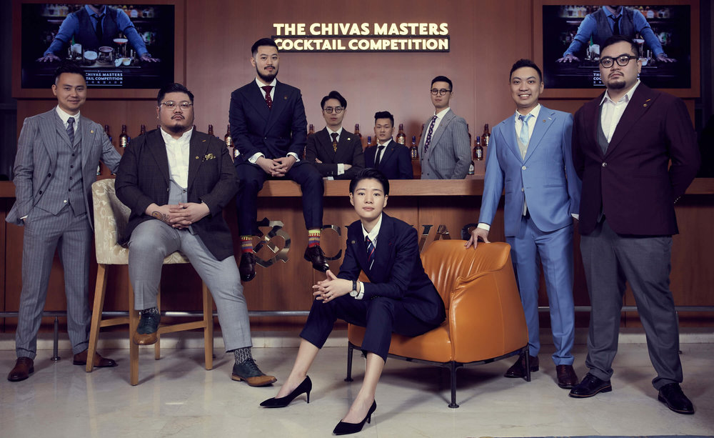 Final contestants of the China Chivas Masters 2018, in their RJ Clothing x Holland and Sherry 3-piece suits