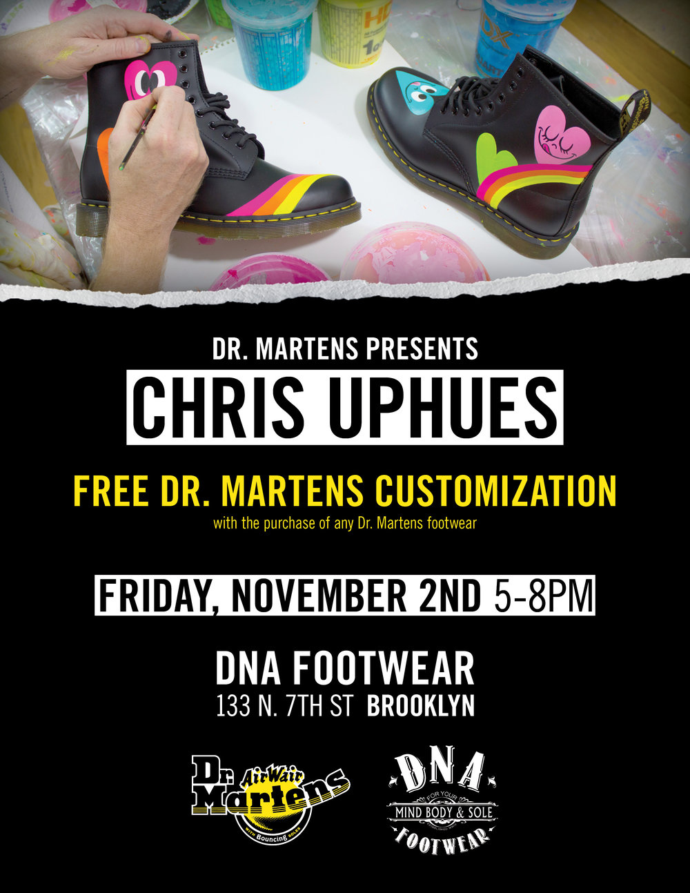 Stoked to be rocking with artist Chris Uphues for the Dr. Martens Customization tour at the  DNA Footwear  Williamsburg store next Friday 11/2. 5-8pm; bringing all the funky love jams to get your boots a-boogie-ing.. Come rock with me…