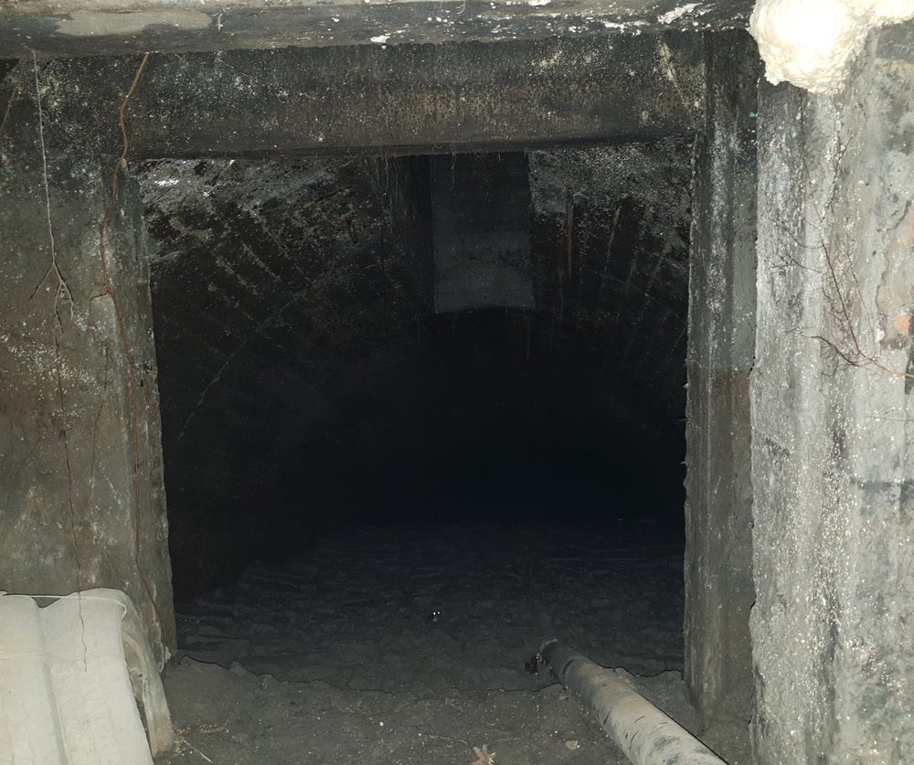 The brick tunnel and a small mine office. The tunnel was damp. You can see a small frog with bright eyes from the camera flash.