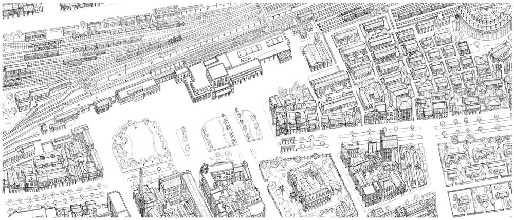My own drawing of the Taipei Main area in the early 1940's from  Historic Taipei . You can see the Osaka Merchant Shipping Company Building directly south of the station. The east area contains old wooden dormitories, some of which are still there. Taipei also used to have a roundhouse similar to the one that still exists in Changhua. The grand building with the walled garden in the center bottom is the Taipei Railway Hotel. This was destroyed by bombing in World War 2.