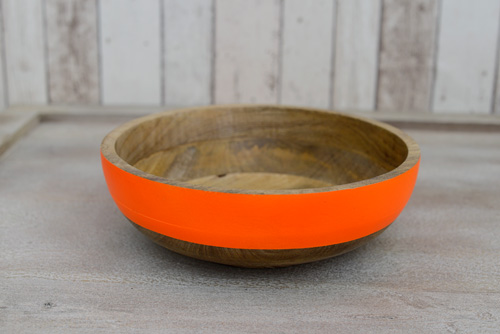 Fluoro Large Wooden Bowl - Orange (above), Yellow, Blue and Pink $62.95