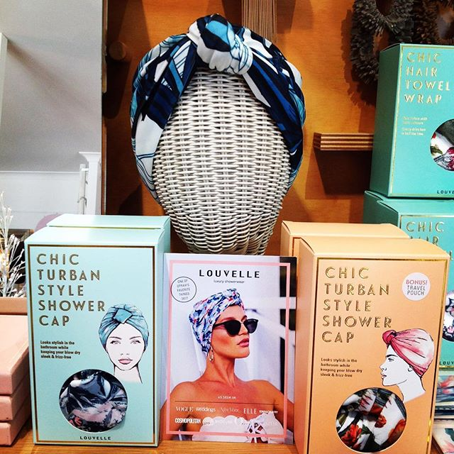 Gorgeous shower caps, towel wraps and headbands. #luxuryshowerwear #frizzfreehair #louvelle #buydesignatclayfield😍