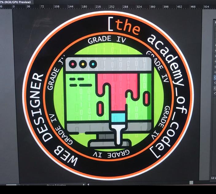 "Work in progress - badge design for Grade IV ""Web Designer"" student award"