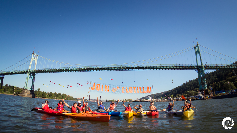 The kayaktivists! Photo by  Backbone Campaign/Flickr  .