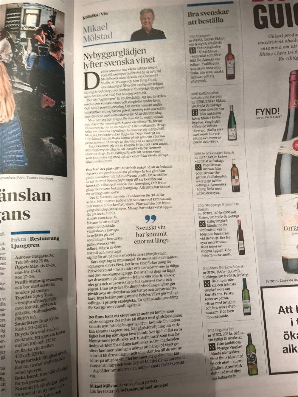 6 av 6 i Svenska Dagbladet för vår Late Harvest