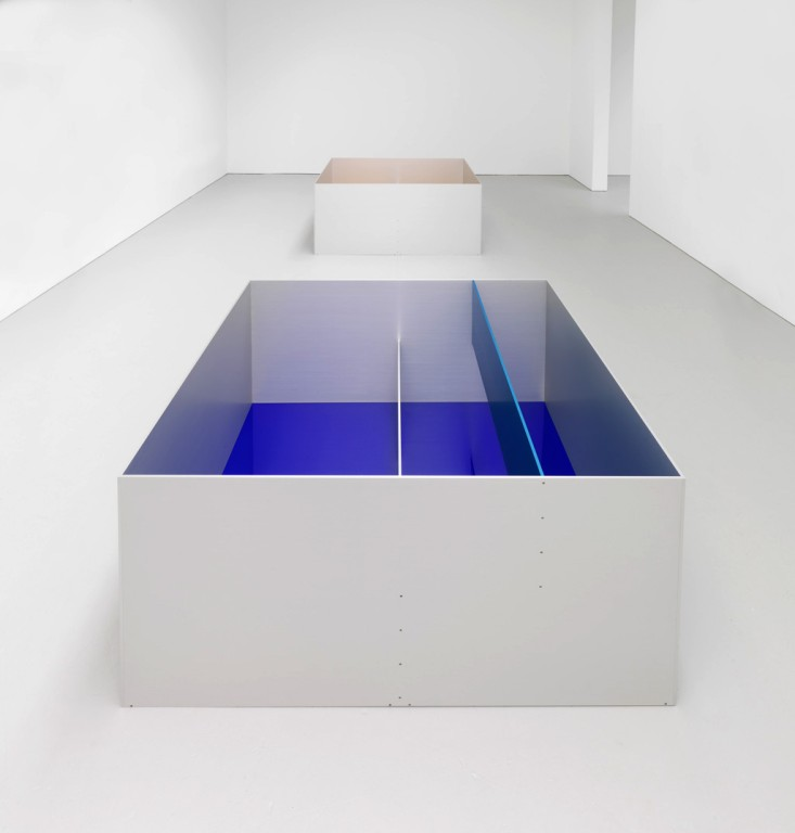 Donald Judd, Untitled (Menziken 89-6), 1989, anodized aluminum, clear and blue with blue Plexiglas, 39 x 79 x 79 (Judd Art copyright Judd Foundation).jpg