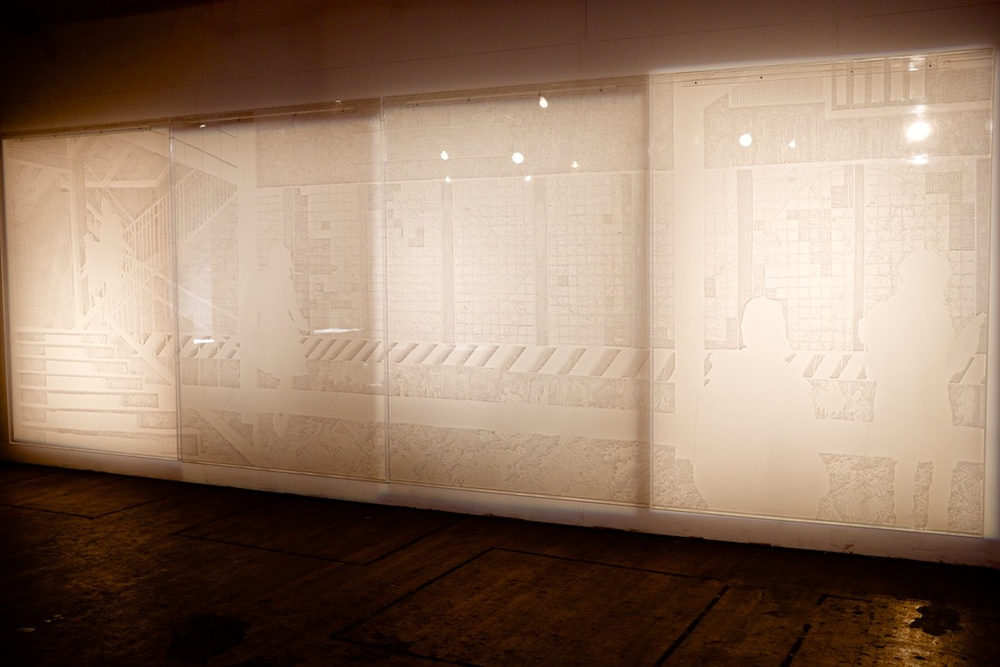 """Ghosts in the Machine (winter)  84""""x 240"""" x 1 1/2"""" -Hand etched plexiglass with shadows -2014"""
