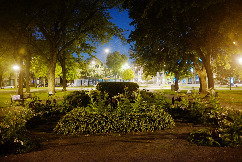Little Park at Night in Montreal