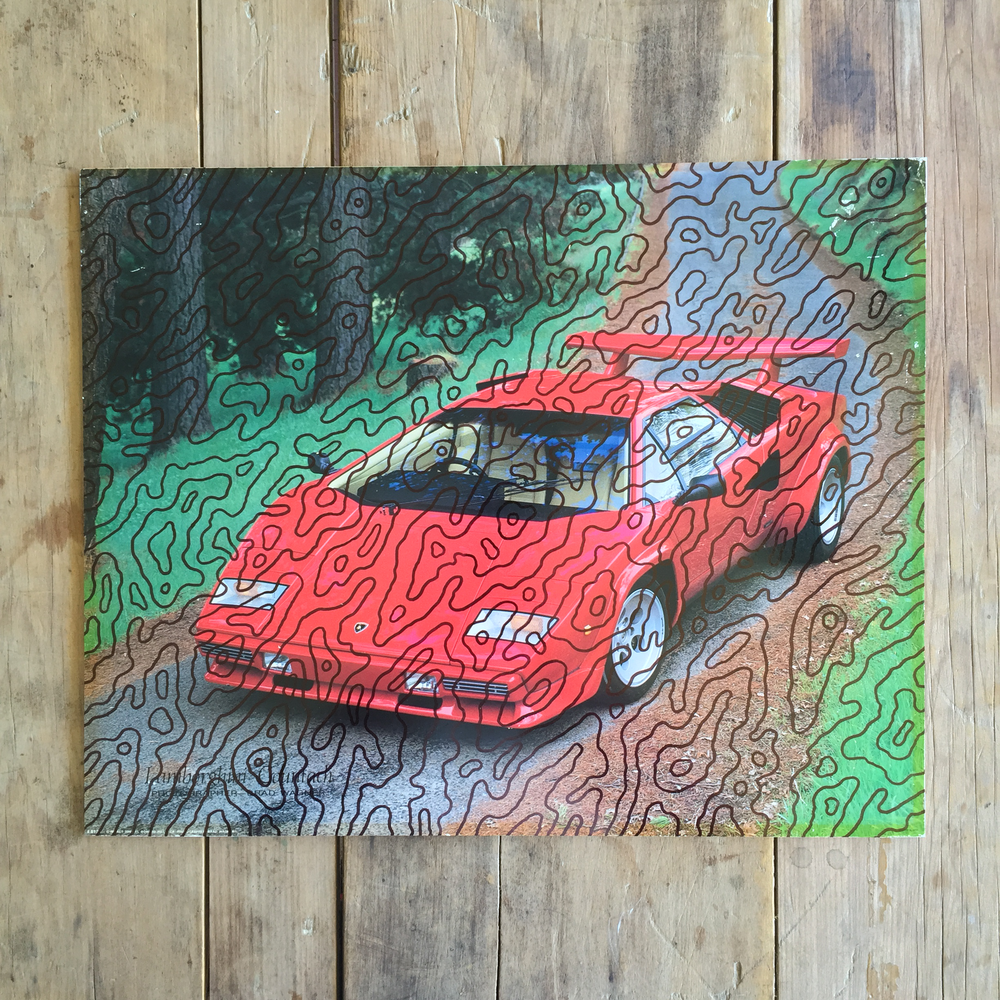 'Red Car'  2014 Ink on salvaged printed card   405mm X 505mm