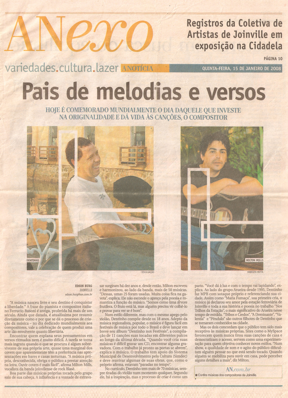 A Notícia - capa Anexo - janeiro 2008