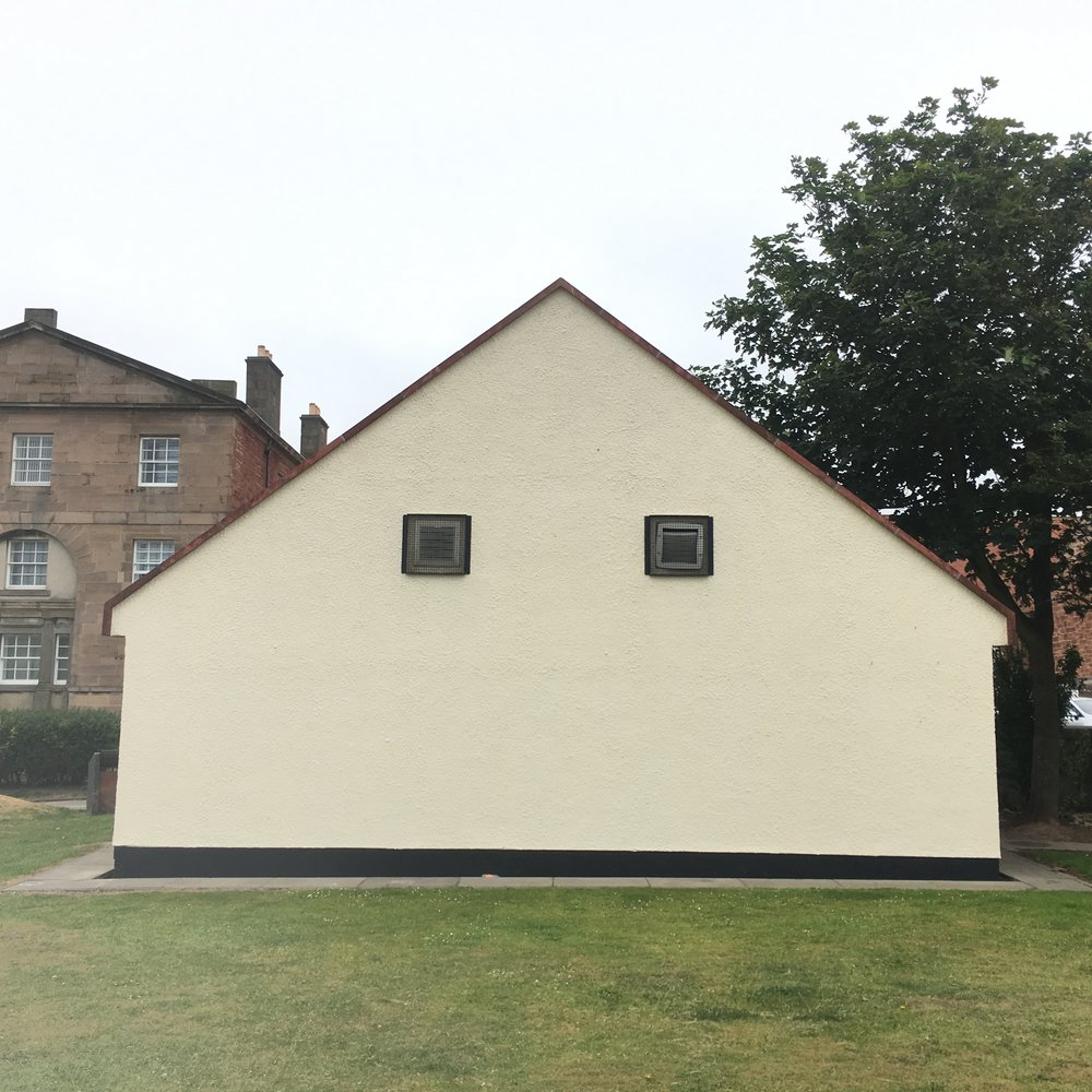 East Lothian Council have now painted & cleaned up the public toilets, as they clean up much of the public domain, to encourage new buyers of the large developments, that are unaffordable to locals.   The large smile would be obstructive, however some subtle personality is calling...
