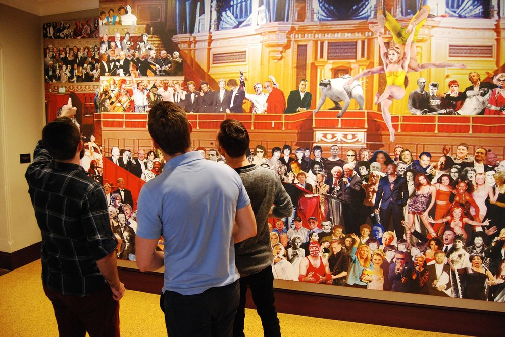 3bweb team looking at the Peter Blake mural at the Royal Albert Hall