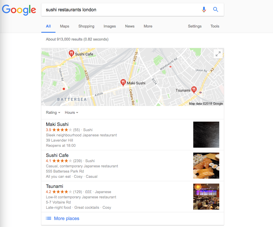 Sushi restaurants london screenshot for Local SEO services example of a 'local pack'