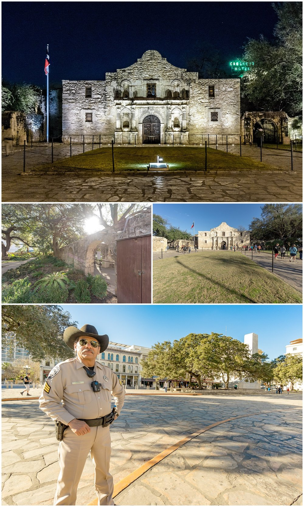 Nighttime Alamo, Garden at The Alamo, Daytime Alamo, Kickass Ranger at The Alamo