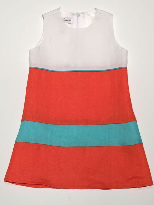 Tri Color Whiteorangeaqua Linen Shift Dress J16112 Mulberry
