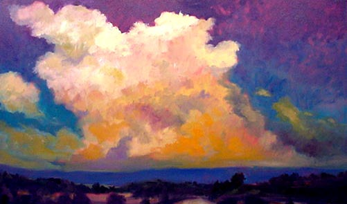 """CLOUDS OVER FORT LEWIS""   ERIC FITZPATRICK,  OIL 36"" X 60"""