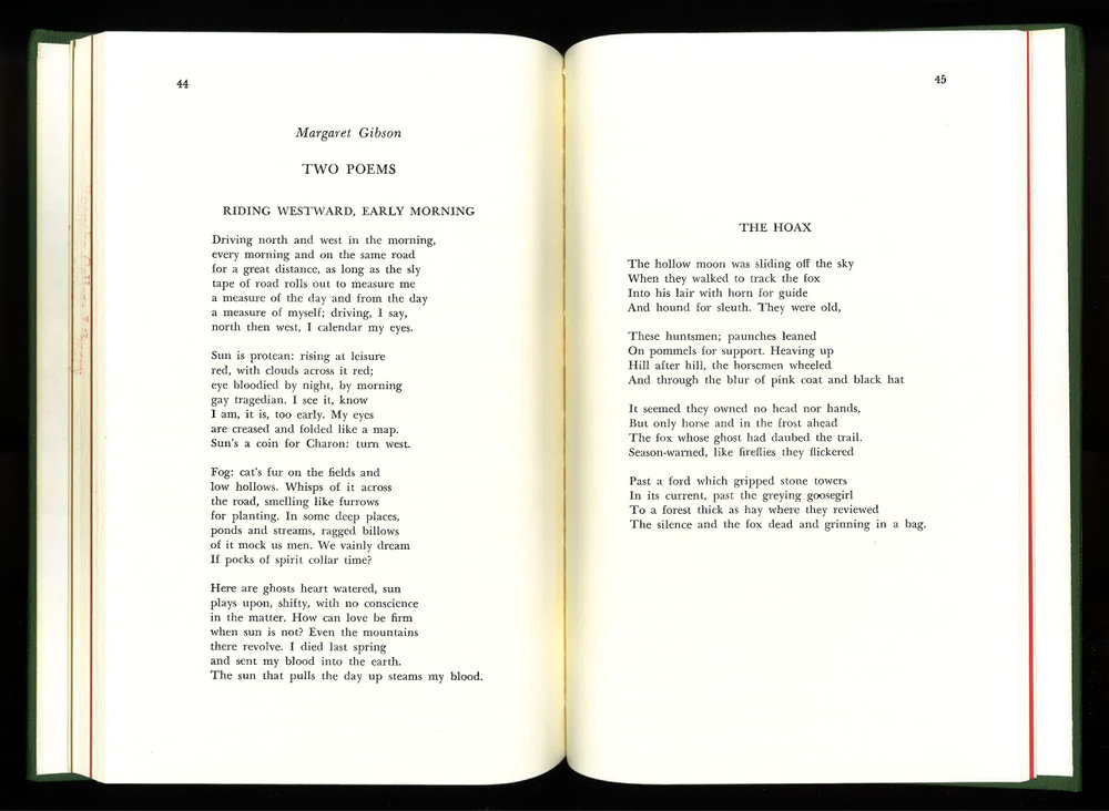 By Margaret Gibson- From Roanoke Review, Spring 1968