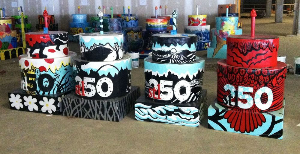 "All four of Katherine Nelson's Cakes ready for delivery from the ""Cake Shop"" studio space in downtown St. Louis, MO"