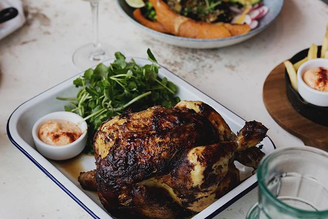One of the ways we reduce our impact on the environment is by using local produce to cut back on the air miles we're responsible for. Voila, delicious dishes with a conscience.  Pictured: Rotisserie Chicken and Mixed Leaf Salad
