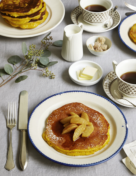 Kabocha Squash Pancakes with Sauteed Maple Pears