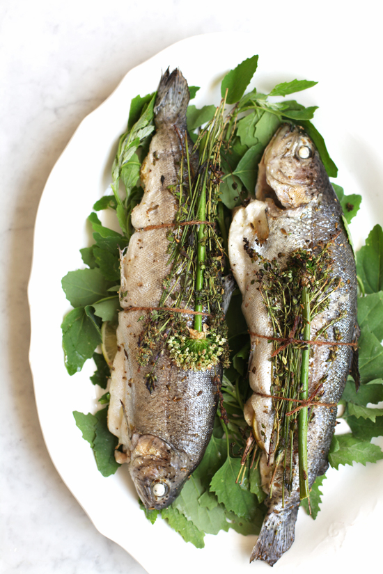Herbal Bouquet Wrapped Trout with Lime Relish