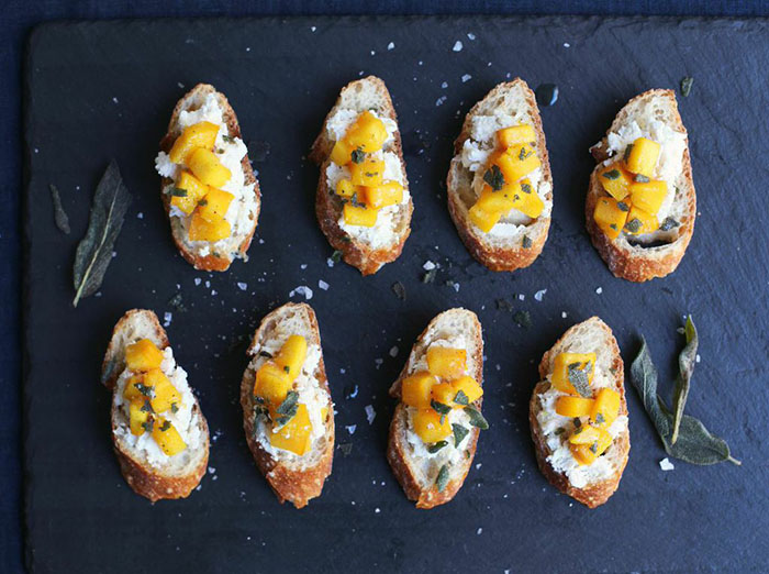Pumpkin Crostini with Ricotta and Sage