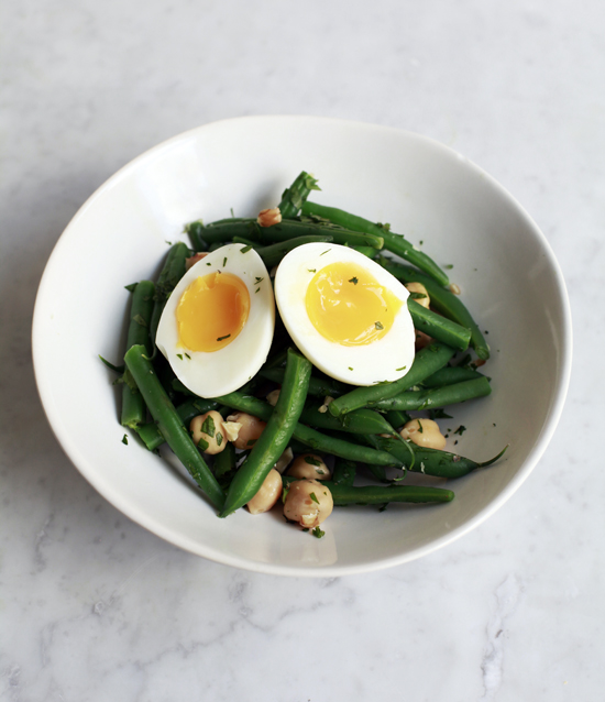 Green Bean Salad with Chickpeas, Egg & Tahini Sauce @jewelsofny
