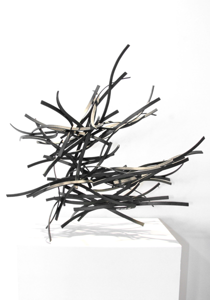 UNBRIDLED, 2012, steel with tar, 27H x 29W x 14D