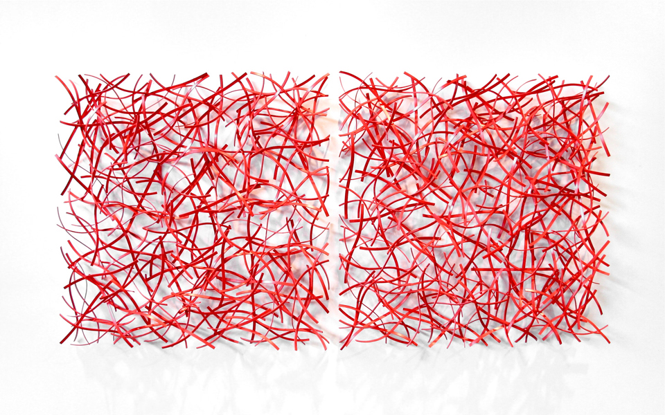 EMBER DIPTYCH, 2012, Steel with powdercoat, 48H x 98W x 6D